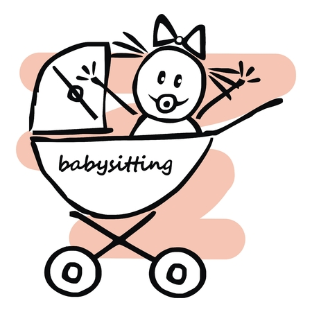 Babysitting, baby girl in the pram, funny illustration, doodle, vector icon