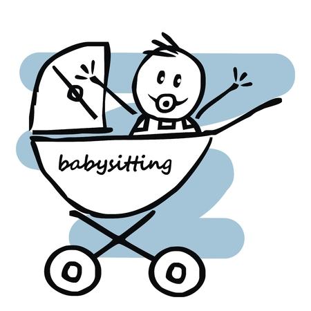 babysitting, baby boy in the pram, funny illustration, doodle, vector icon