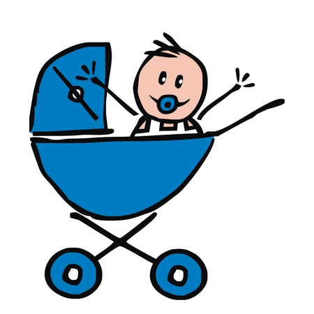 Babysitting, baby boy in the blue pram, funny illustration, doodle, vector icon