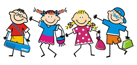 Happy school children, children with bags, funny vector illustration. Girls and boys in line. Different types of bags.