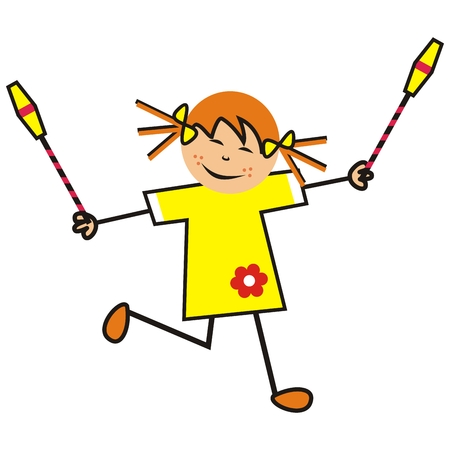 Girl and gymnastic cone, funny illustration, single kid