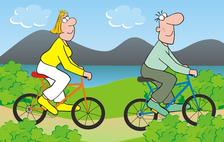 Bike trip, woman and man ride on bicycles, countryside