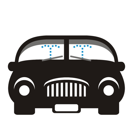 Car and windshield washer, black silhouette, vector icon