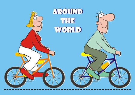 Around the world on the bicycle, funny postcard, vector illustration Illustration