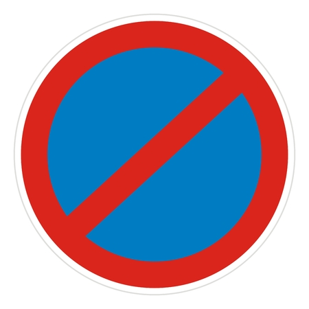 Traffic sign, no stopping and parking, vector icon. Çizim