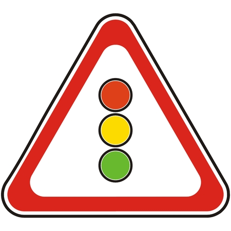 Traffic sign or  road sign of a stop light