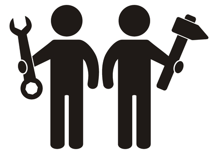 Two figure with tool, wrench and hammer, black silhouette, vector icon