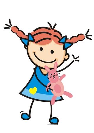Girl and plush rabbit, cute illustration, vector icon