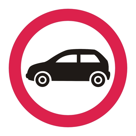the ban on the entry of all motor vehicles, traffic sign, vector icon
