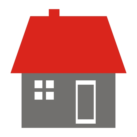 House with window, door, roof and smokestack, vector icon. Isolated object. Red roof and gray facade with white window and door. Illustration