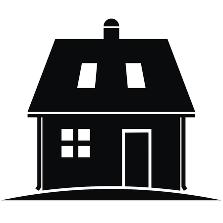 House with eaves and roof windows, black silhouette, vector icon.