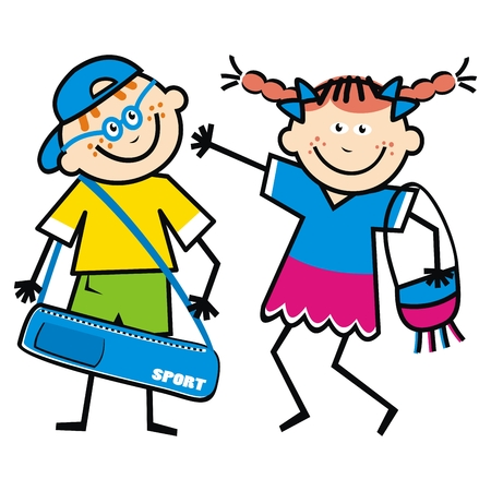 Happy kids with bags, funny Vector illustration on white background.