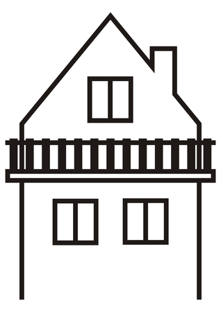 House with balcony Vector illustration on white background.
