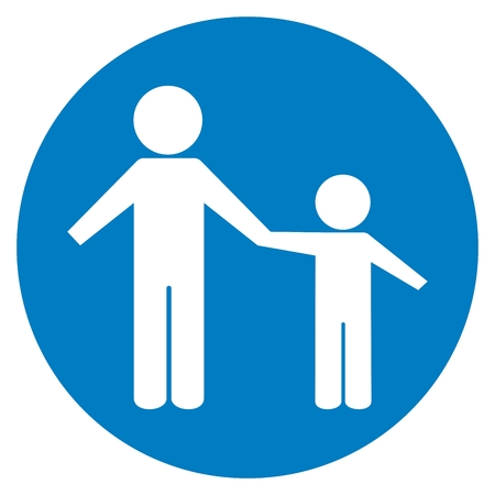 Pedestrian path, footpath, road sign, vector icon. Blue circle button. White silhouette of people.