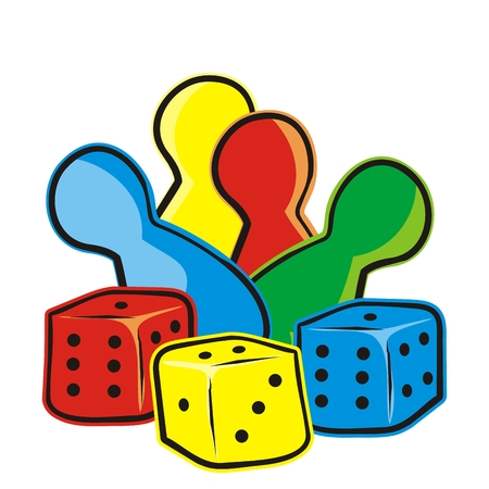 Playing dice and figurines, ludo, vector icon. Game set, colored figures and dices.