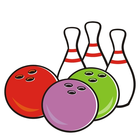 Bowling ball and pins, vector icon for sports game tournament. Colored illustration, creative, isolated object. Bowling set. Illustration