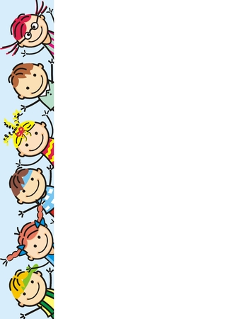 Happy kids, vector icon, banner, creative object.