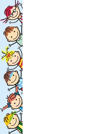 Enfants heureux, icône de vecteur, bannière, objet créatif.
