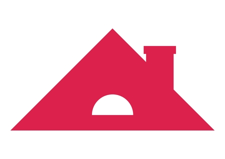Saddle roof with chimney, vector icon. Red color with white window roof with ventilation opening isolated object.
