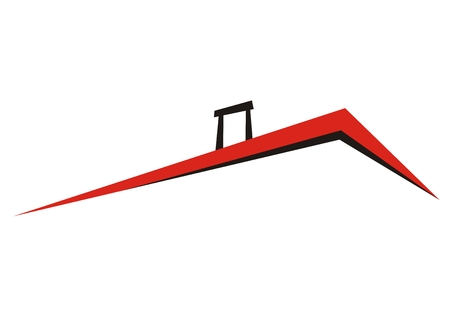 Roof with smokestack, vector icon, red and black sketch. 矢量图像