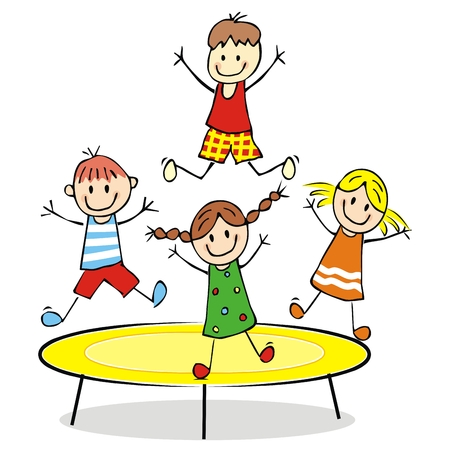 Happy children on a trampoline, vector illustration