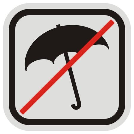Prohibition of entry with umbrella, black silhouette of umbrella, vector icon.