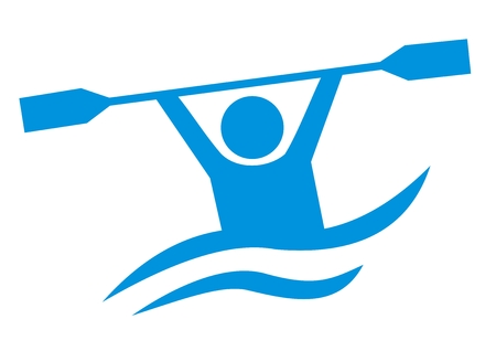 Water sports illustration. Simple blue silhouette of man with paddle. Vectores