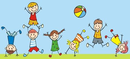 Bambini che saltano, icona di vettore, illustrazione divertente