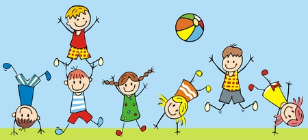 Jumping kids, vector icon, funny illustration Vettoriali