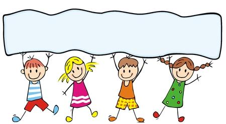 Glückliche Kinder und Fahne, Vektorillustration, Farbillustration, Platz für Text