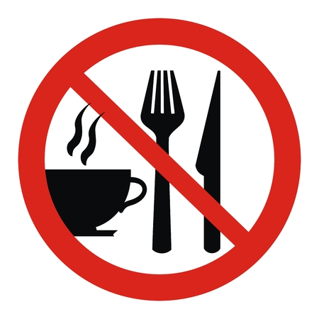 prohibition sign, cup and cutlery, red circle frame Vettoriali