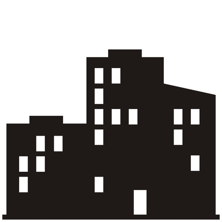 Panel houses, black silhouette of town, vector icon Stock Illustratie