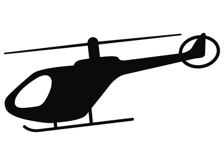 Helicopter, black silhouette, vector icon, single object. Helicopter with skids. Vectores