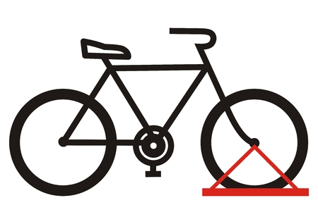 bicycle stand, vector icon, black silhouette, parking for wheel