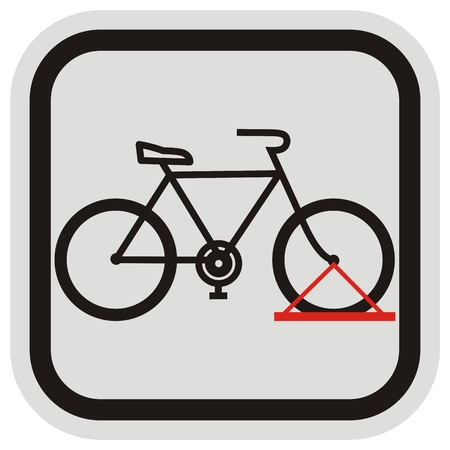 bicycle stand, black silhouette, vector icon, parking for wheel, black and gray frame Çizim