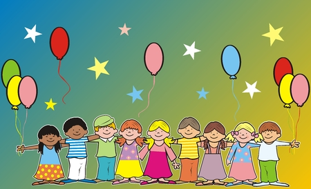 Happy kids and ballons, banner, vector illustration, postcards