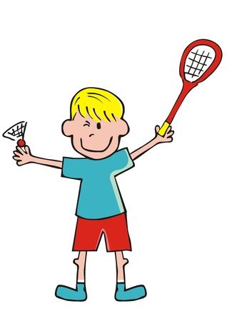Boy and badminton, funny vector illustration