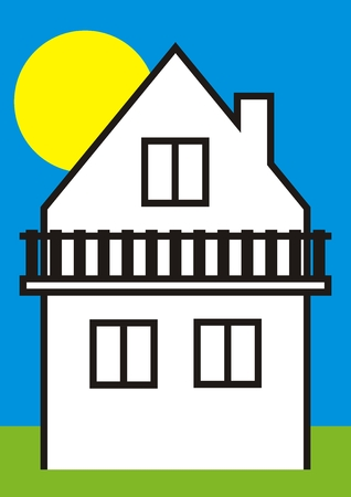 House and balcony, vector icon, white cottage and black contour, at background sky with sun