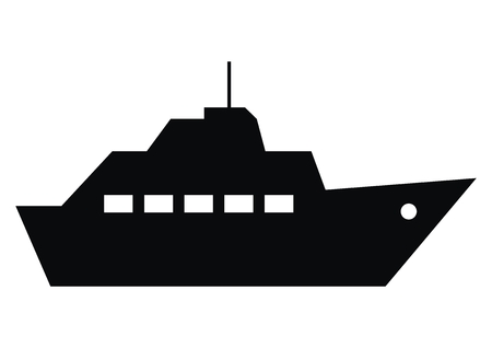 boat trips, black silhouette of steamboat, vector icon