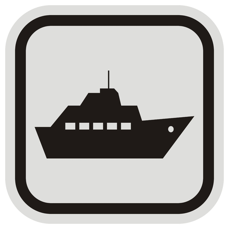 boat trips, black silhouette of steamboat, black and gray frame, vector icon
