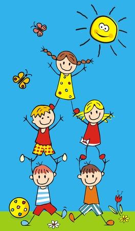 Happy kids and pyramid, crazy illustration, vector postcard