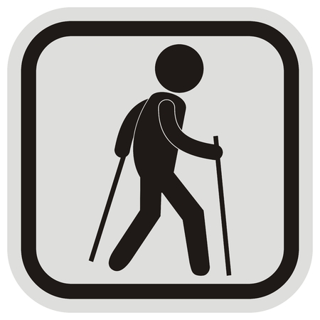 Tourist, black vector icon, silhouette of a male at gray and black frame, web icon. Person with sticks.
