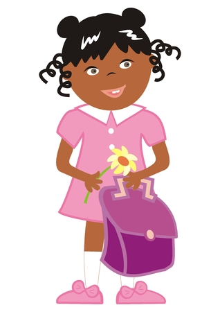 girl and school bag and flower, happy kid, vector illustration