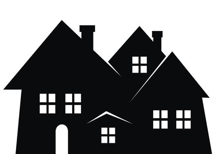 Ciudad, silueta negra. Icono de vector. Conjunto de casas con chimenea, ventanas y puertas.