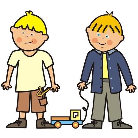 Dos niños y juguetes, coches y tirachinas, ilustración vectorial
