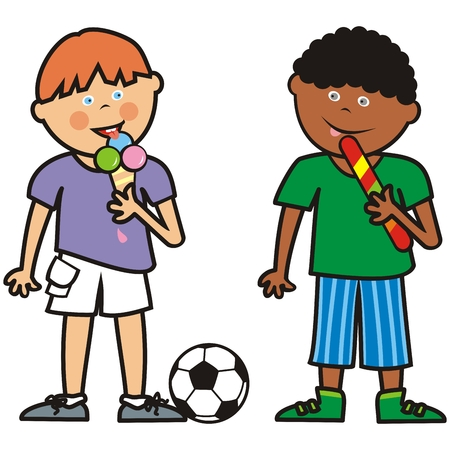 Two boys and sweets, funny illustration, vector icon