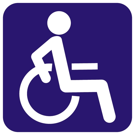 disabled person in wheelchair at blue frame, sign, vector icon, isolated object