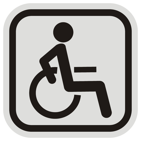 disabled person in wheelchair at gray and black frame, sign, vector icon Vettoriali