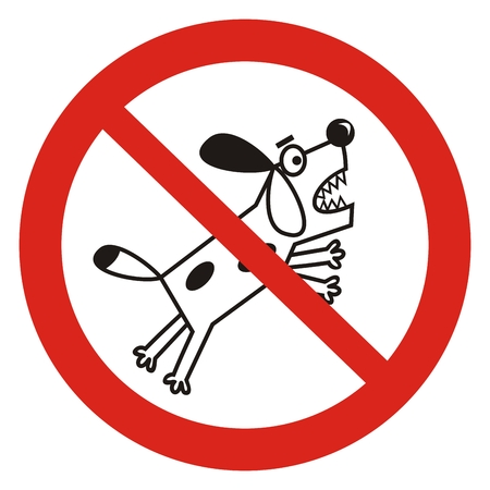 Prohibition of dog walking, vector icon, sign. Banner mark with red circle frame. Comic illustration of dog.Notifications for peple with dog.