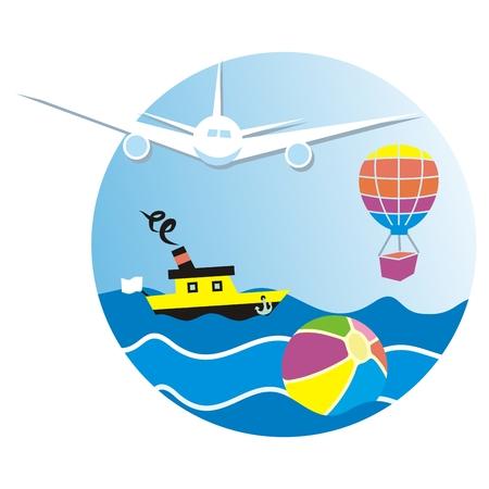 Vacaciones de verano, banner, avión, actividades de verano, transporte aéreo, globo y barco, icono de vector. Marco circular. Varios modos de transporte.